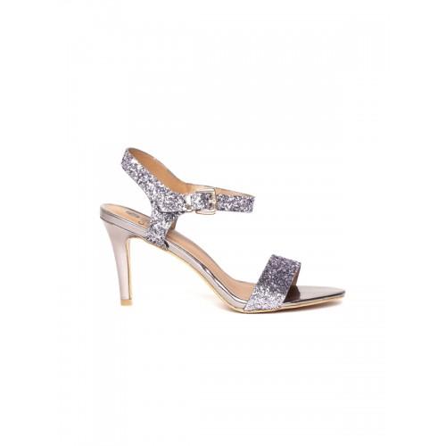 Carlton London Women Gunmetal-Toned Shimmer Slim Heels
