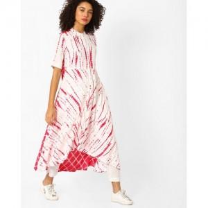 Jiyaa White & Pink Flared High-Low Tie & Dye Kurta