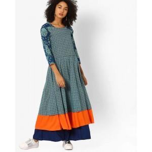 Jiyaa Blue Cotton Printed Flared Kurta