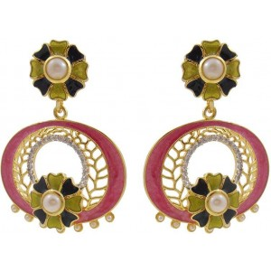 MK Jewellers Designer Meenakari & American Diamond Brass Drop Earring