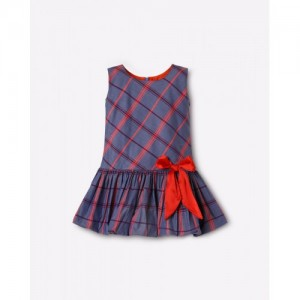 ISM exclusive for Ajio Checked Dress with Bow Detail