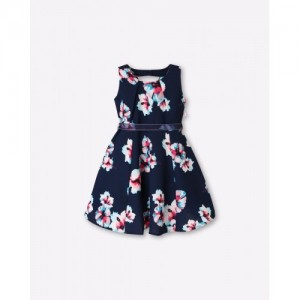 Peppermint Navy Blue Polyester Floral Print Fit & Flare Dress