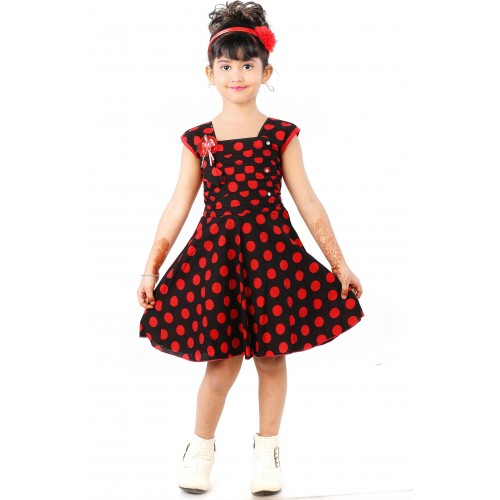 Singham Baby Girl's Black & Red Cotton Knee Length Casual Dress