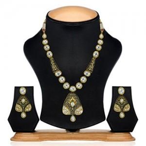 Zaveri Pearls White & Gold Brass Ethnic Kundan Necklace Set