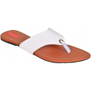 Footrendz White Solid Synthetic Flats