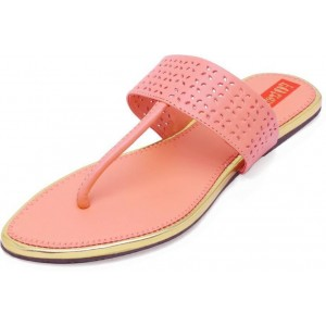 Footrendz Peach Cut Work Synthetic Flats