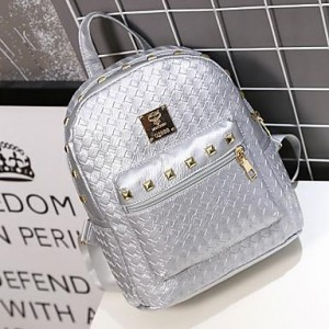 Women Silver Solid Studded PU Casual Backpack
