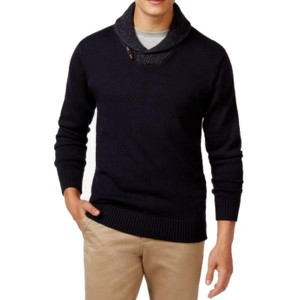 Weatherproof NEW Navy Blue Mens Shawl Collar Knit Sweater