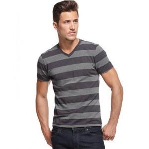 Alfani Men's Gray Striped Slim Fit V Neck T Shirt