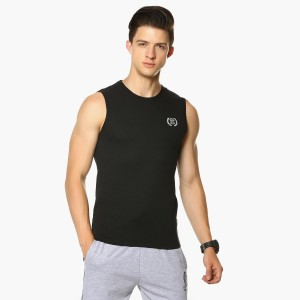 MAX Black Solid Sleeveless Casual Vest
