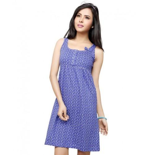 83b1b61354 Buy Flamingo Lingerie Blue Cotton Women Nighty online