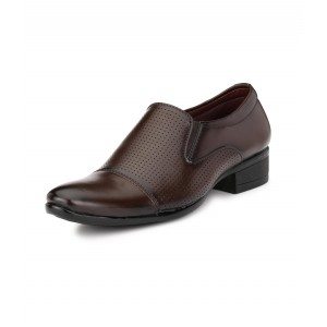 Letjio Soules Mens Dark Brown Slip-On Moccasins Style Formal Shoes