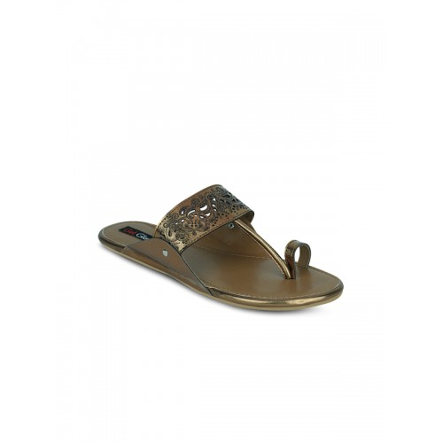 Get Glamr Brown Cutwork Flat Chappal