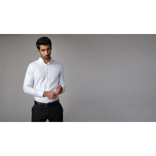 17100bd6f189b Buy The Essential French Cuff White Solid Formal Shirt online ...