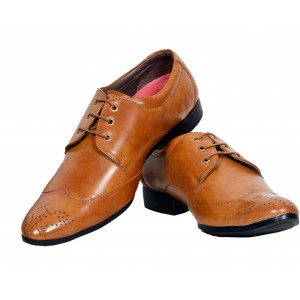 Vogue Tan Synthetic Leather Stack Lace Up Formal Shoes