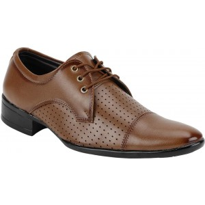 Kraasa Tan Patent Leather Broke Lace Up Formal Shoes