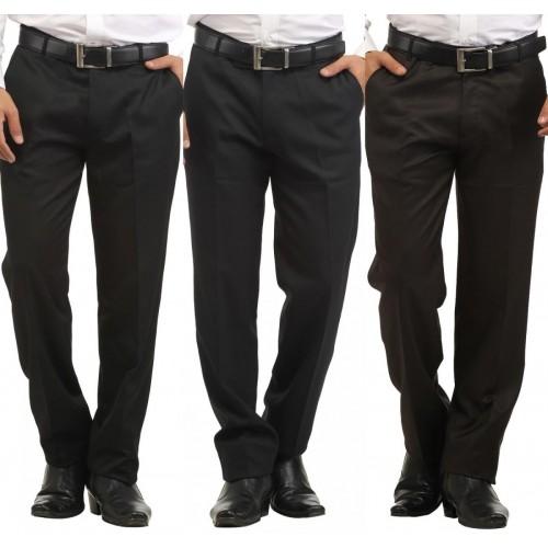 Inspire Slim Fit Men's Black, Blue, Brown Trousers