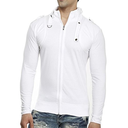 new photos a2fcb ee6df ... tees collection Tees Collection Men s Stylish Full Zip Buckle Neck Full  Sleeve Slim Fit White Colour ...