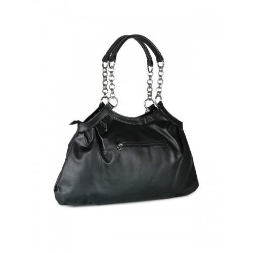 BUTTERFLIES Black Polyurethane Printed Hand-held Bag
