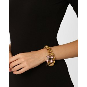Style Fiesta Gold-Plated Bracelet with Floral Charm
