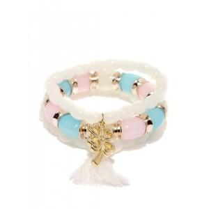ToniQ Off-White & Blue Set of 3 Beaded Bracelets