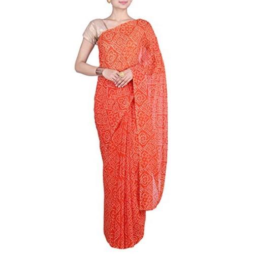 Aaradhya Fashion Aaradhya Fashion Georgette Saree (Afj-0290_Orange)