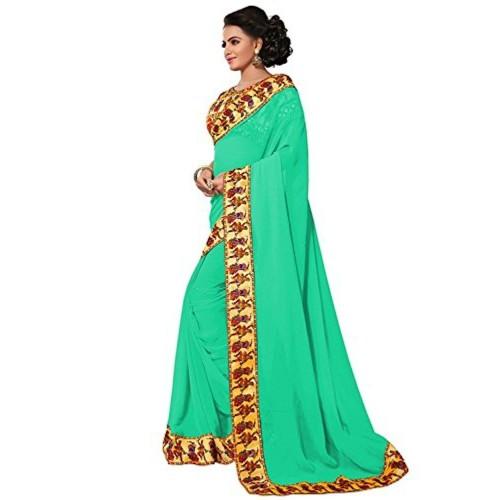 Aaradhya Fashion Aaradhya Fashion Georgette Saree (Dandiya-Green-01_Green)