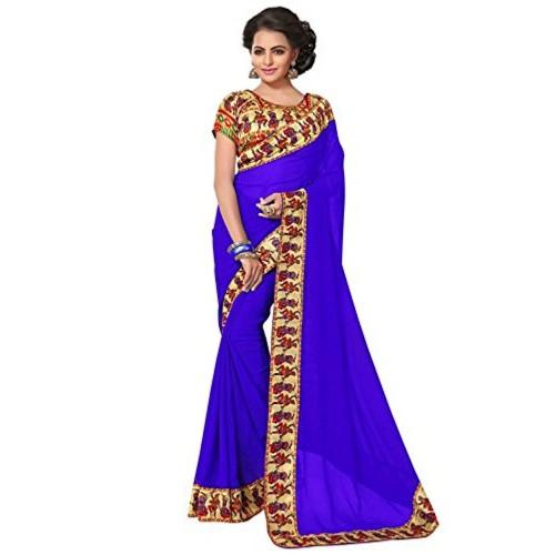 Aaradhya Fashion Aaradhya Fashion Georgette Saree (Dandiya-Blue-01_Blue)