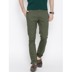 Wills Lifestyle Olive Green Skinny Casual Trousers