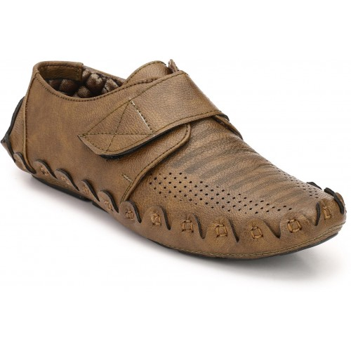 ZebX ZebX Brown Synthetic Velcro Loafers