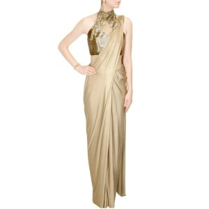 Gold shimmer pre stitched drape sari with embroidered blouse