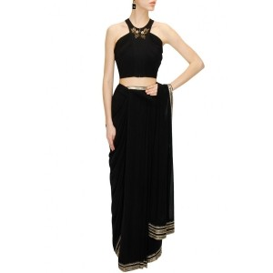 Black pre stitched drape sari with sequin embroidered blouse