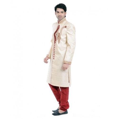 23efc1a528 Buy Vastramay Gold Cotton Blend Sherwani online | Looksgud.in
