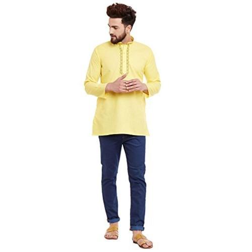 Sojanya Sojanya (Since 1958), Yellow Short Kurta, Cotton Blend