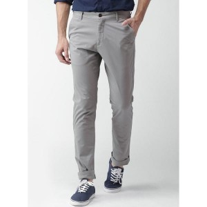 Mast & Harbour Grey Solid Slim Fit Chinos