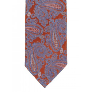 Lino Perros Rust-Coloured & Blue Paisley Weave Tie