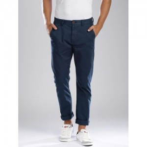 Breakbounce Navy Blue Street Smart Fit Chino Trousers
