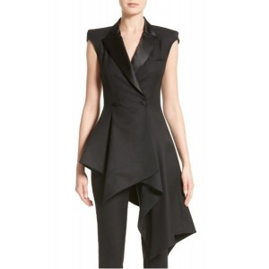 Monse Black Wool & Nylon Cap Sleeve Asymmetrical Blazer