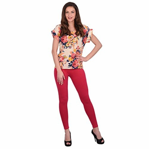 Red Cotton Solid Slim Fit Casual leggings
