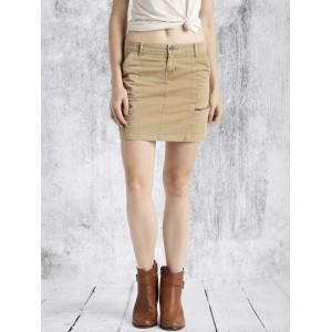 Roadster Khaki A-Line Skirt