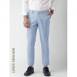 INVICTUS Men Blue Solid Slim Fit Formal Trousers