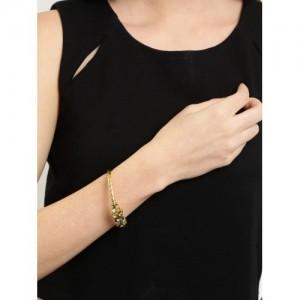 Tipsyfly Gold-Toned & Green Embellished Cuff Bracelet