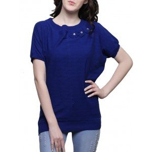 Renka blue poly cotton knitted top