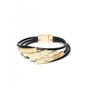 Thingalicious Black & Gold-Toned Leather Bracelet