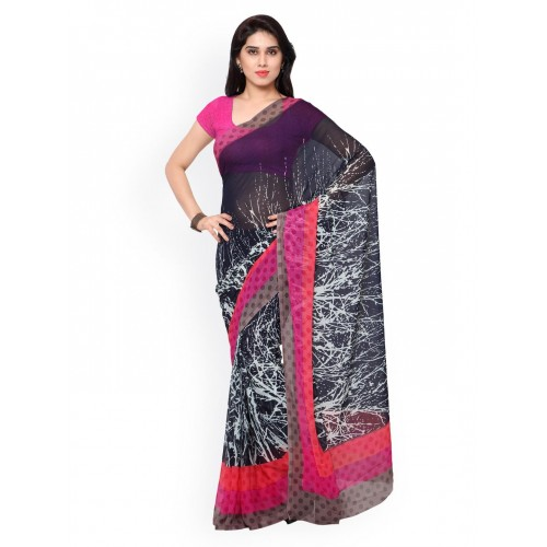 633cdf8989b3f6 Buy Vaamsi Black Chiffon Printed Saree online | Looksgud.in