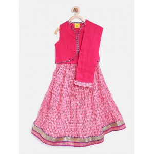612 league Girls Pink Printed Lehenga Choli with Dupatta