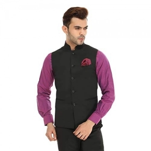 ManQ Black Slim Fit Party/Casual Men's Nehru Jacket