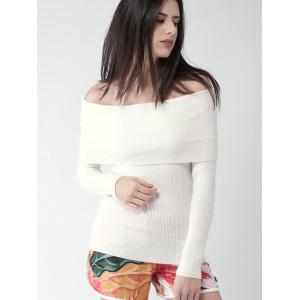 FOREVER 21 Women's White Self-Design Sweater
