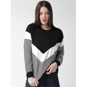 New Look Black & White Colourblocked Sweatshirt