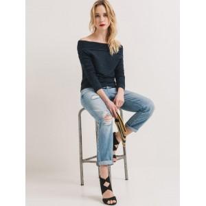 Promod Women's Navy Blue Self Design Sweater
